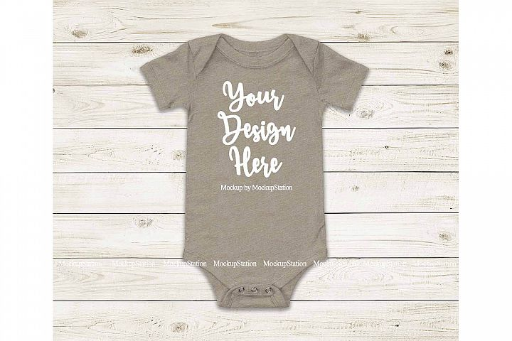 Baby Heather Stone Bodysuit Mockup, Blank Toddler One Piece