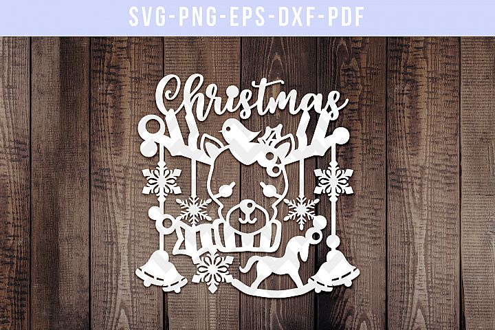 Rudolf Papercut Template, Christmas Decor Cut File, SVG, DXF