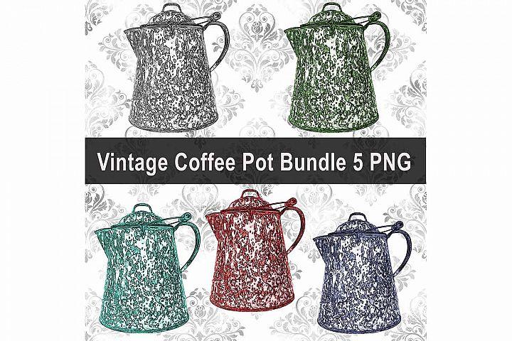 Vintage Coffee Pot Bundle, Clip Art, Print, Sublimation PNG