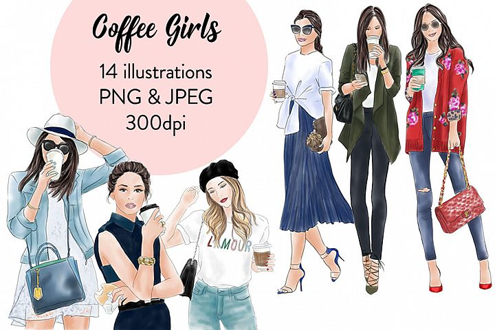 Coffee girls watercolour illustration clipart