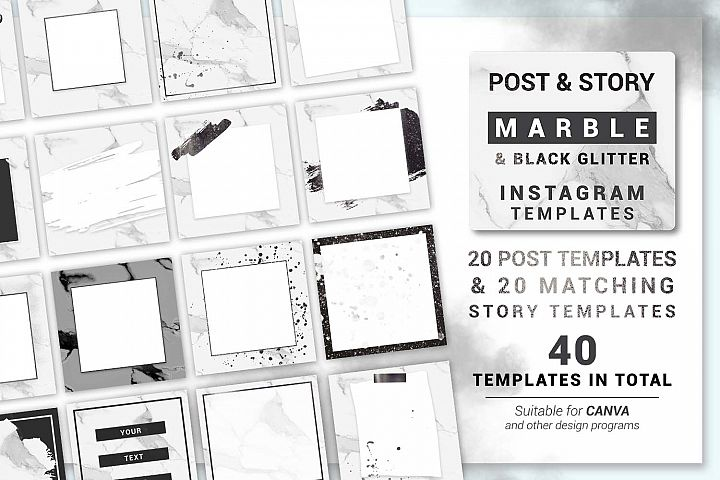 Black and White Marble Instagram post and story templates