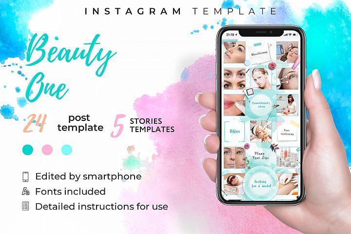 Cosmetologist|instagram template kit|canva template|24 post