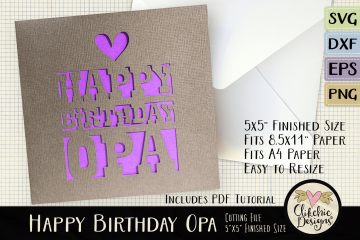 Happy Birthday Opa Card SVG - Birthday Card Cutting File
