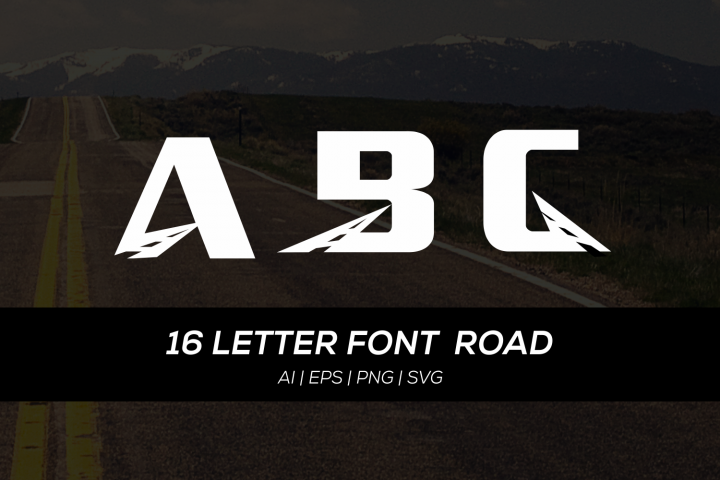 16 letter font with road