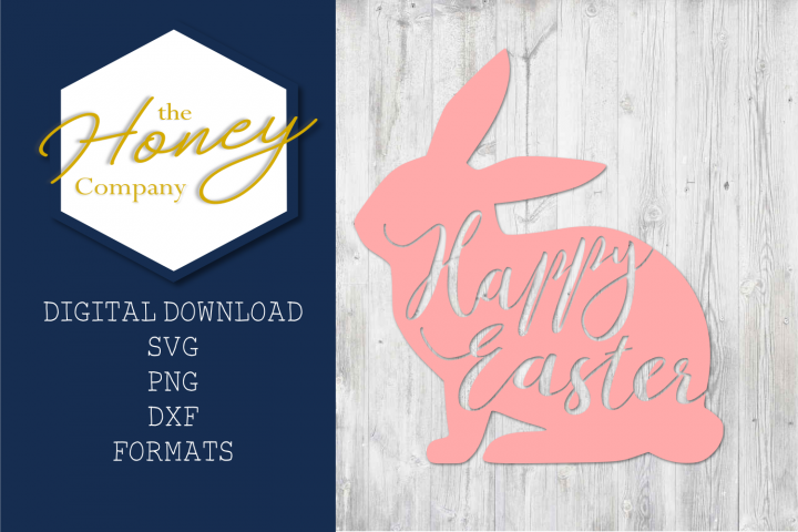 Happy Easter SVG DXF PNG Bunny Cutting File Vector Clipart