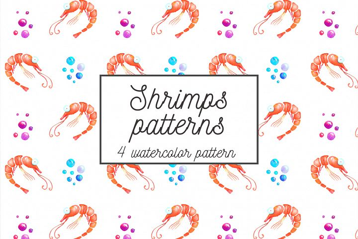 Shrimps watercolor patterns set