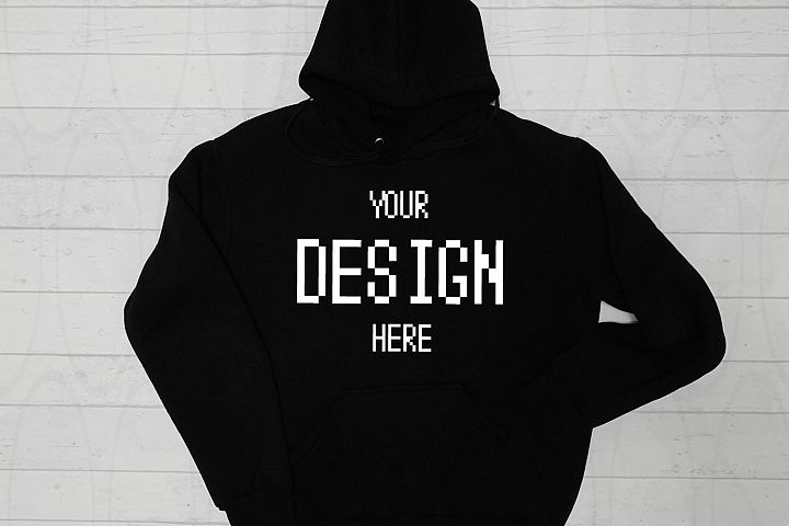 Hooded Sweatshirt Brand Black hoodie Mockup White Wooden