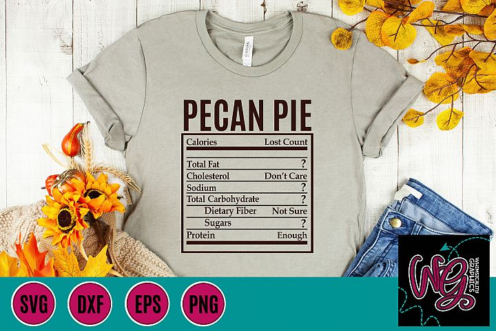 Holiday Food Funny Pecan Pie SVG, DXF, PNG, EPS