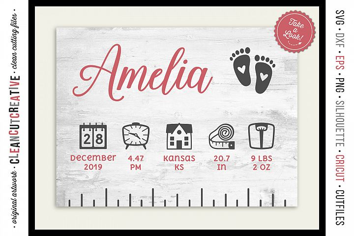 BABY BIRTH STATS RULER vector elements SVG file for crafters