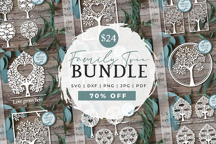 MEGA BUNDLE! Family Tree Cut Files - SVG | Papercut