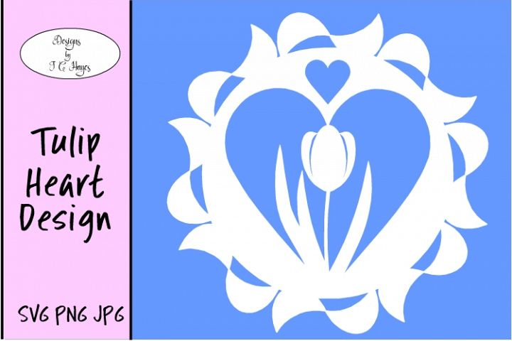 Tulip in Heart Design, SVG,