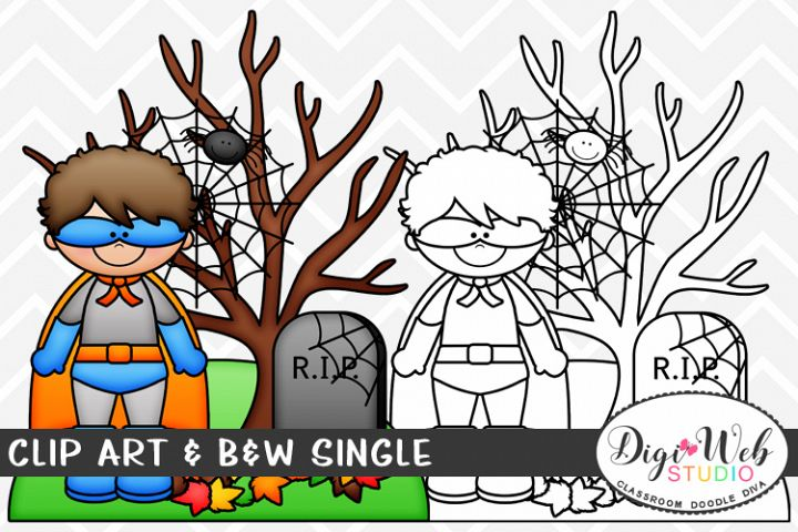 Clip Art & B&W Single - Cemetery Scene w/ Superhero Boy