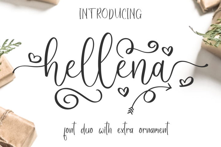 Hellena \\ Font Duo with additional Ornament