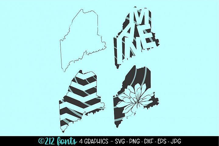 4 - Maine State Map Graphics Cut File DXF PNG JPG SVG EPS