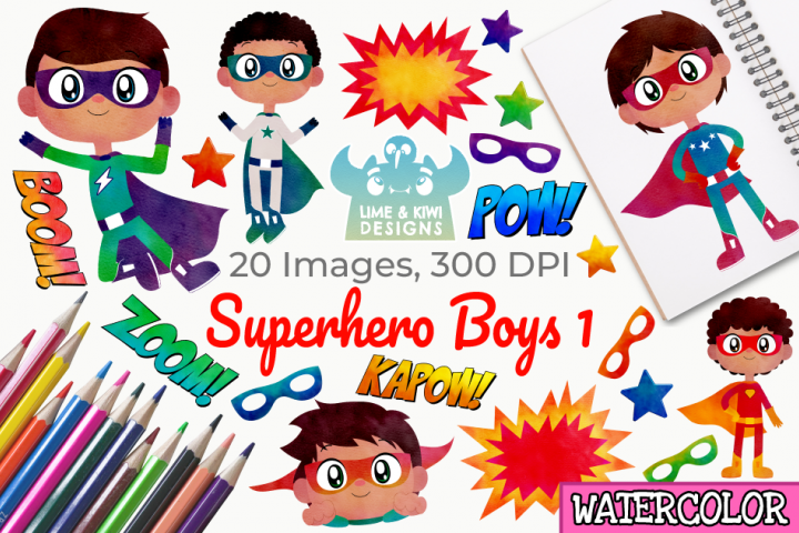 Superhero Boys 1 Watercolor Clipart, Instant Download