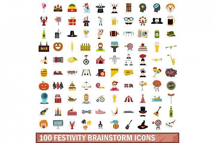 100 festivity brainstorm icons set, flat style