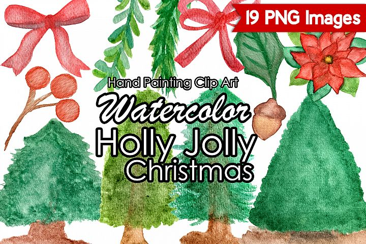 Watercolor Christmas Clipart, Holly Jolly Christmas Clip Art