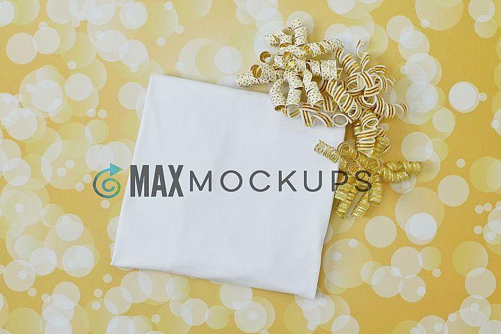 T-shirt Mockup, Christmas, birthday, romantic, gold ribbons