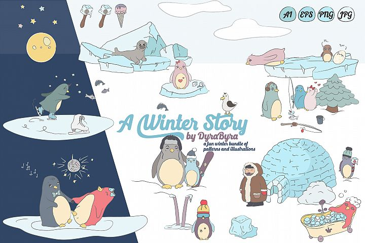 Penguins Illustrations & Patterns - A Winter Story