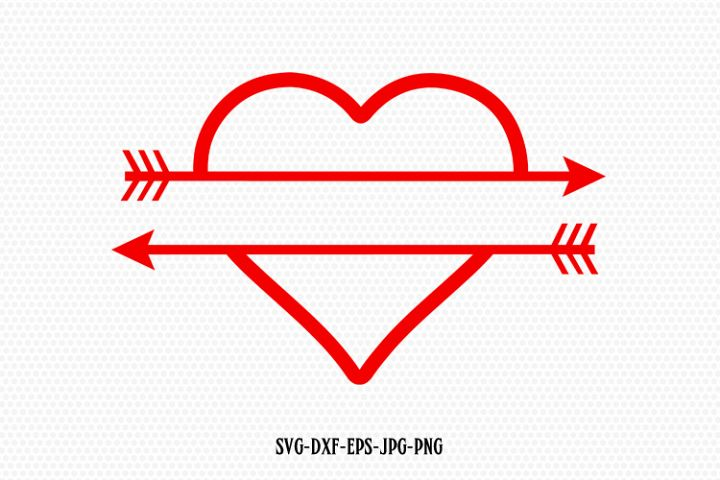 Split Heart Arrow Monogram frame Svg
