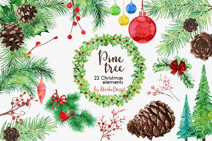 Pine Tree - Christmas Watercolor Illustrations
