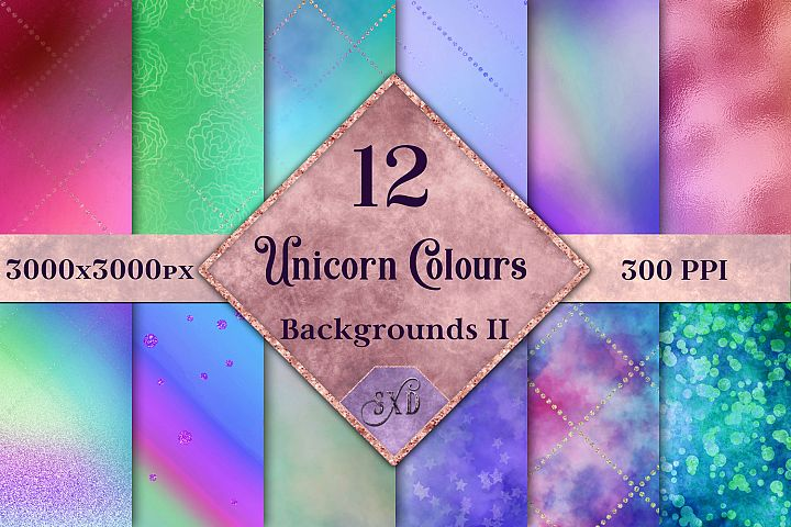 Unicorn Colours Backgrounds II - 12 Image Textures Set