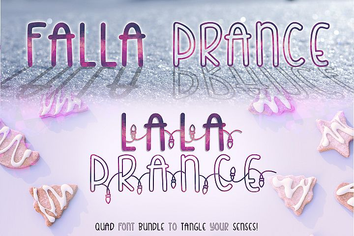 Falla & Lala Prance Bundle| A cute all caps quad font