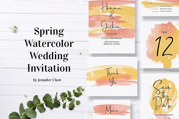 Spring Watercolor Wedding Stationery Set