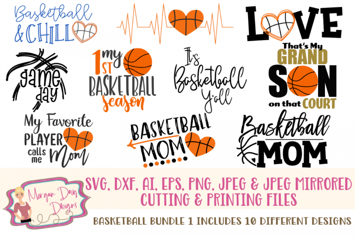 Basketball Bundle 1 SVG, DXF, AI, EPS, PNG, JPEG