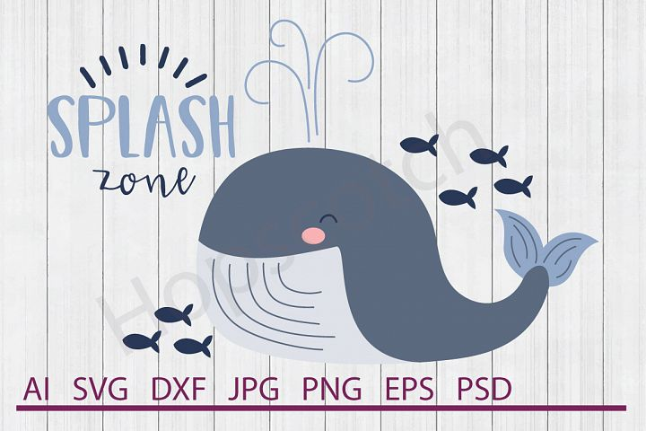 Whale SVG, Splash Zone SVG, DXF File, Cuttable File