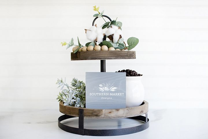 6x6 Tiered Tray Grey Wood Sign Digital Mock Up Styled Photo