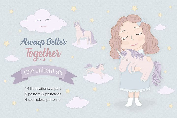 Cute Funny Unicorn Illustration Set - Free Design of The Week Font