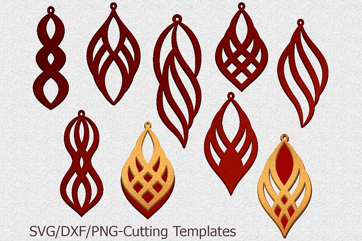 leather earring template svg, oriental jewelry svg laser cut
