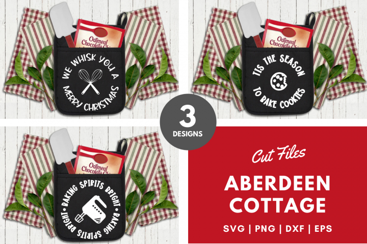 Christmas Kitchen Pot Holders Bundle - Set of 3 - SVG