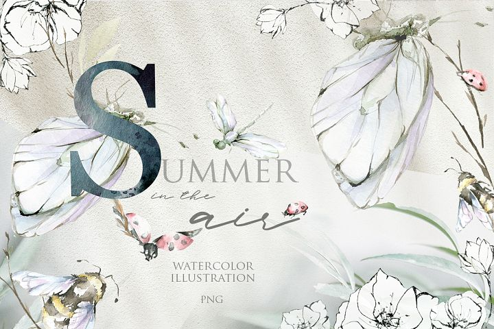 Summer in the air. Watercolor collection