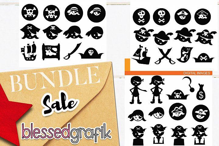 Pirate clip art illustrations bundle