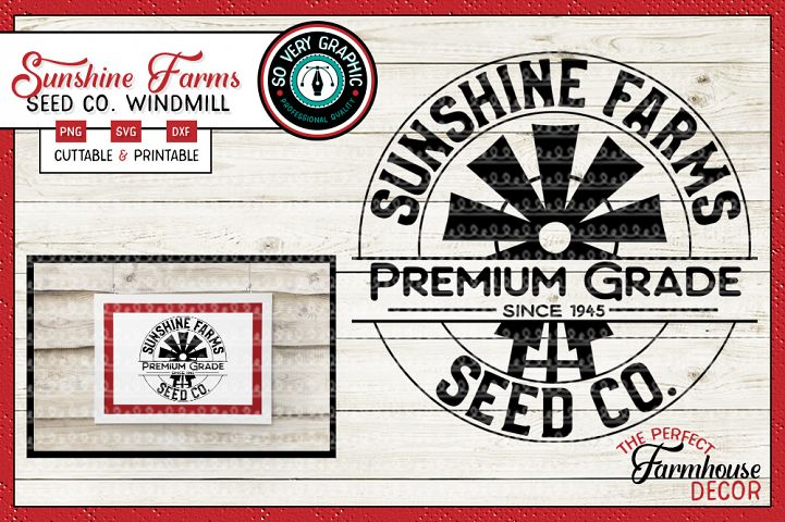 Sunshine Farms Seed Co Windmill Farmhouse Circle Sign SVG