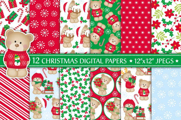Christmas digital papers,Christmas patterns,Christmas bears