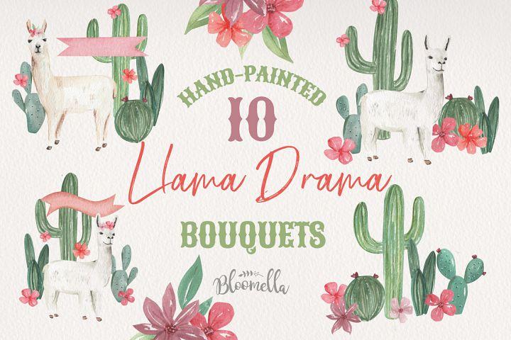 10 Watercolour Llama Drama Arrangements Cactus Floral Flower