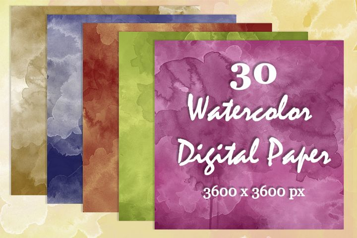 30 Watercolor Digital Paper Textures Background