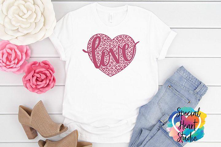 Leopard Print Love Heart - Hand lettered Valentine SVG
