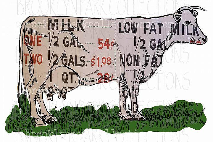 Dairy Sign, Farmhouse, Cow, Clip Art, Print, Sublimation PNG
