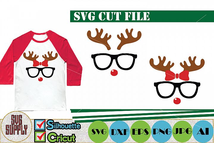 Reindeer Face with Glasses SVG Cut File
