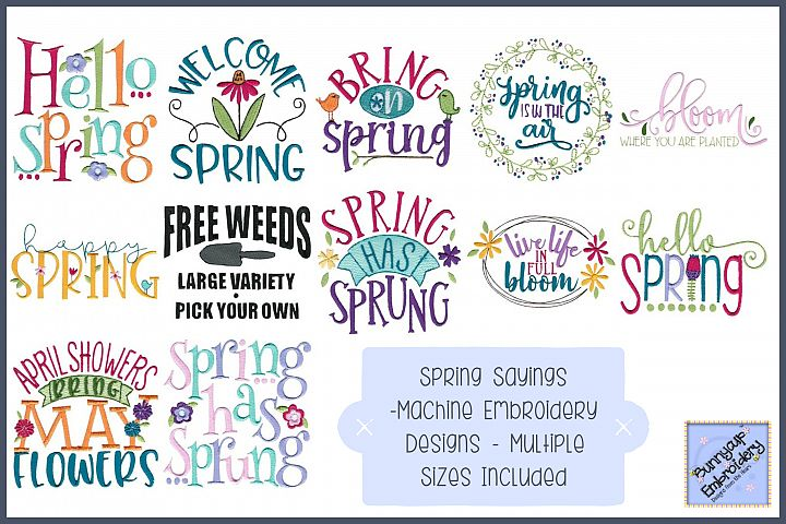 Spring Sayings - 12 Machine Embroidery Designs