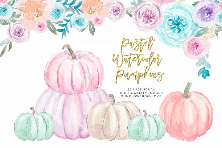 Pastel Pumpkins Watercolor Cliparts, Autumn Cliparts
