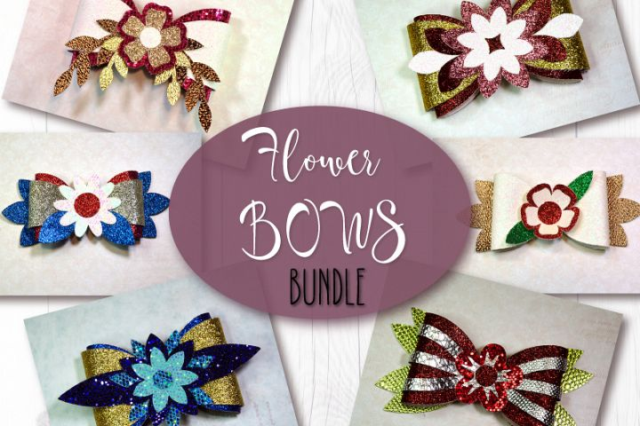 6 Hair bow template SVG, Flower faux leather bow template