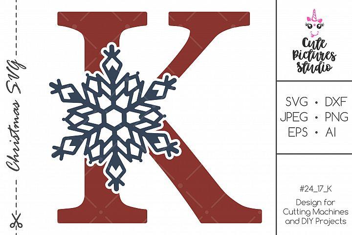 Christmas monogram svg. Snowflake letter K SVG, DXF, PNG
