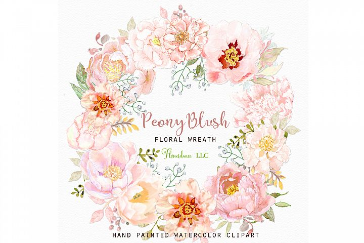 Watercolor Wreath Peony Blush Floral Clipart