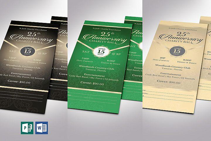 Anniversary Banquet Ticket Bundle Word Publisher Template