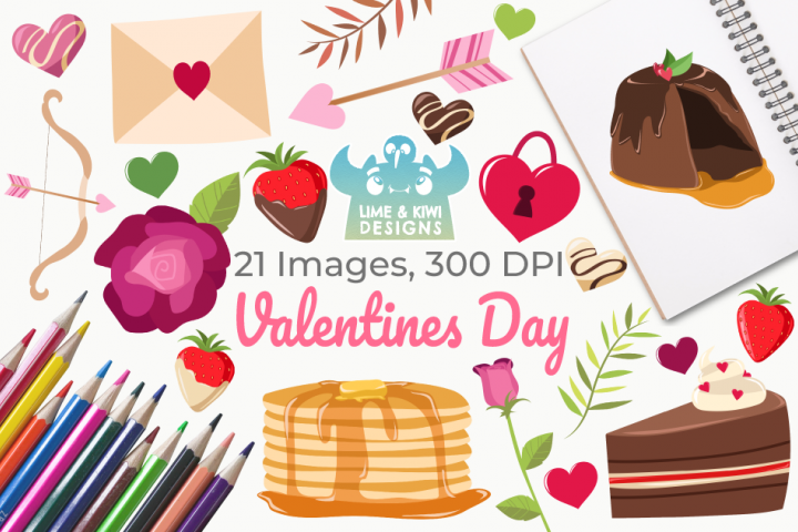 Valentines Day Clipart, Instant Download Vector Art